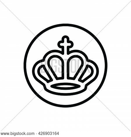 Black Line Icon For Neon Casino Fortune Game Crown Royalty Imperial Kingdom
