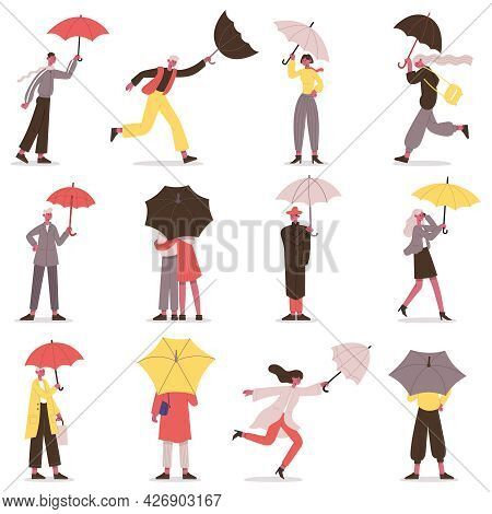 People Holding Umbrella. Male And Female Fall Characters With Umbrellas, Rainy Day Stroll Vector Ill