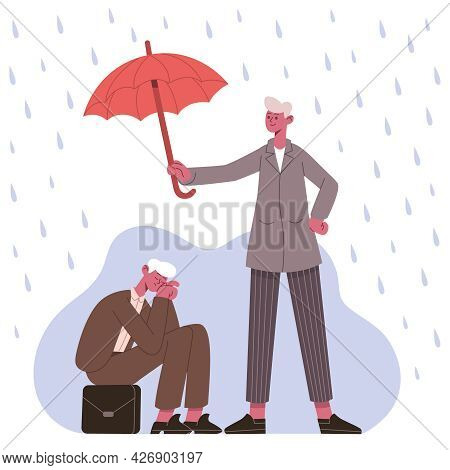Psychological Support Concept. Therapist Or Friend Protecting Patient From Depression Under Umbrella