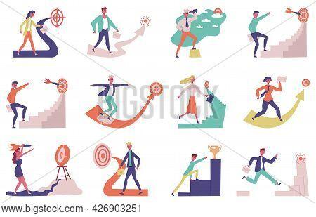Business Goals Achievements. Success People Career Development, Upward Motivation Vector Illustratio