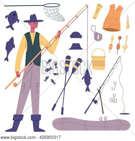 Fisherman Character. Cartoon Fisherman With Fishing Tackle, Fishing Rod, Reels, Boat And Fish Bait V
