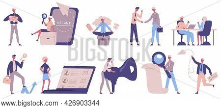 Headhunting Service. Recruitment, Hr Managers, Vacancies And Employer Characters, People Hiring Vect