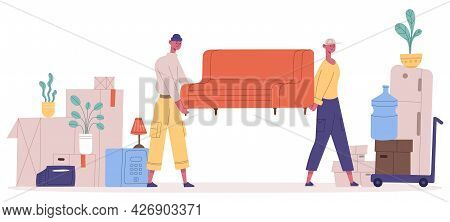 New House Moving. Relocation Service Characters Carrying Sofa And Household Boxes, Movers Pulling Fu