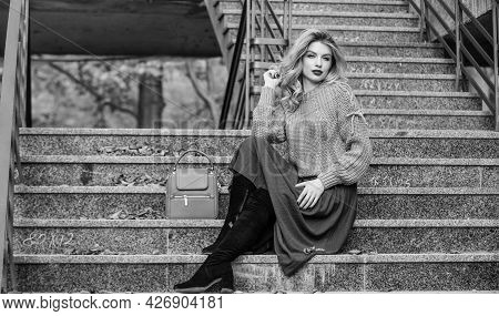Staying Beautiful Any Season. Girl Blond Hair. Autumn Woman Curly Hair Outdoor. Girl In Corrugated S