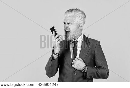 Man Shout On Someone While Speaking. Successful Boss. Ceo And Entrepreneurship. Full Concentration A