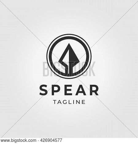Minimal Emblem Spear Sparta Logo Vintage Vector Illustration Design