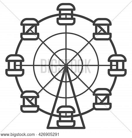 Ferris Wheel Vector Icon. Element For Amusement Park Products. Monochrome Outline Illustration Isola