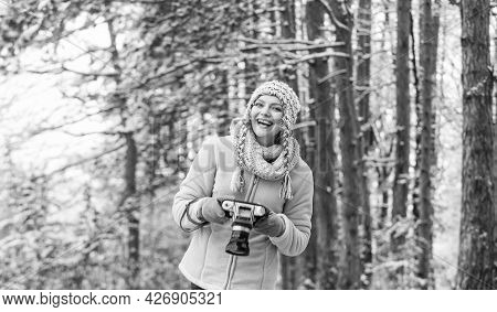 Curious Beauty. Make Photo Shot Of Snowy Winter Nature. Cold And Beautiful Weather. Happy Hiker Girl