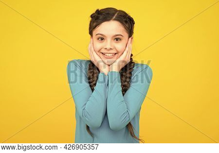 Smiling Child With Long Hairdo. Cheerful Teen With Healthy Smile. Hair Braided In Braids. Little Bea