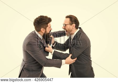 Leadership Concept. Businessman And Politician Fighting. Conflict Of Interest. Business Conflict. Co