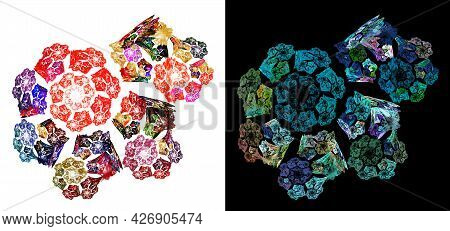 Colorful Blurred Spirals Are Collected In A Large Spiral On White And Black Backgrounds. Imitation O