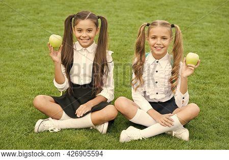 Girls Classmates Eat Healthy School Lunch, Happy Childhood Concept