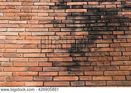 Brick Wall With Dirty Stained. Red Grunge Brick Wall Background Texture