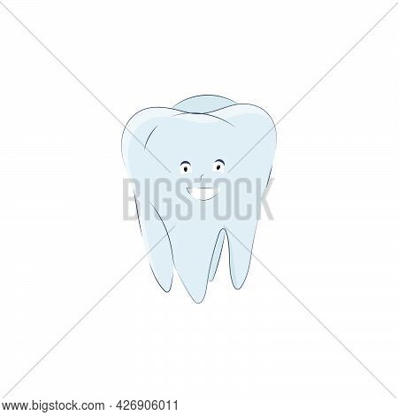 Cute Tooth In Cartoon Style Isolated On White Background. Vector Illustration, Molar Icon With Eyes,
