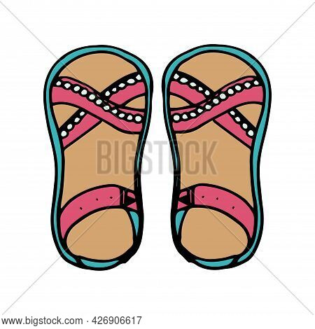 Summer Sandals In A Flat Style. Tropical Vacation. Isolated Vector Illustration.