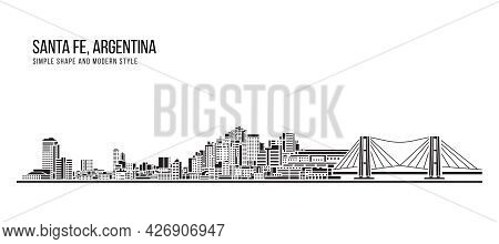Cityscape Building Abstract Simple Shape And Modern Style Art Vector Design - Santa Fe, Argentina