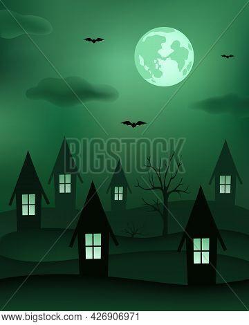 Moonlight Night. Creepy Autumn Background. Vector Illustration.
