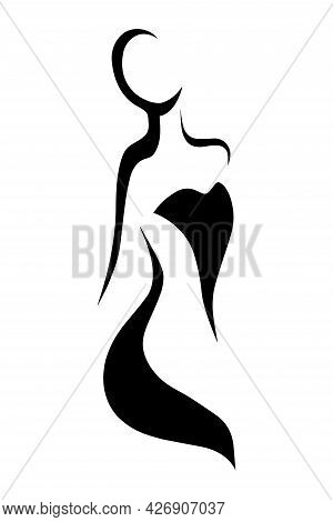 Vector Female Silhouette With Attractive Shapes, Fashion Illustration. Stylized Figure Of A Girl Wit
