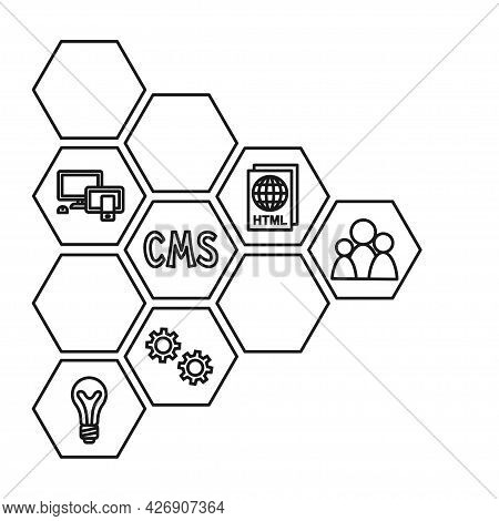 Black And White Pattern Of Cms Elements. Hexagon Arrow Point Right