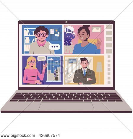 Online Communication With Friends And Colleagues. Remote Video Conferencing. Screenshot Of A Laptop