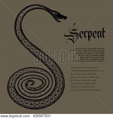 Occult Ancient Coiled Black Snake With Text 'serpent' And Lorem Ipsum