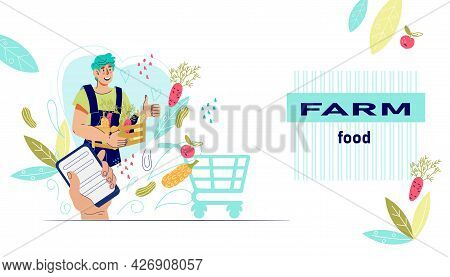 Online Ordering Of Farm Food And Organic Vegetables, Local Farm Production Web Banner. Farm Food, Ma