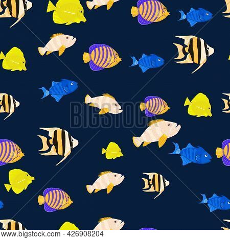Marine Life Seamless Pattern. Tropical Fish. Coral Reef Inhabitants.