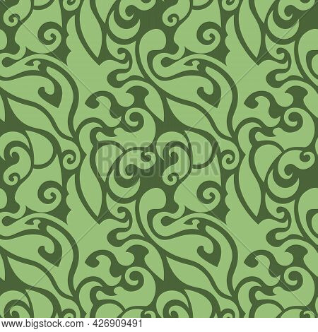 Cute Swirly Seamless Pattern With Leaves In Shades Of Green