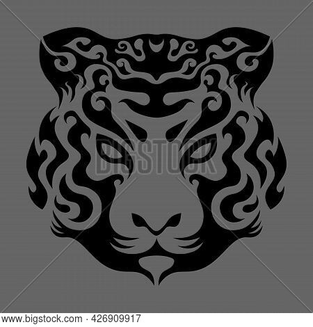 Abstract Swirly Tiger Face In Asian Style, Chinese Horoscope Sign