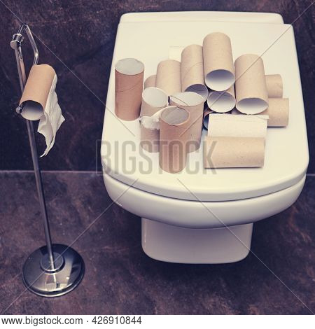 Finished Toilet Paper On A White Toilet Bowl, Close-up. Concept Of Panic In The Crisis Coronavirus E