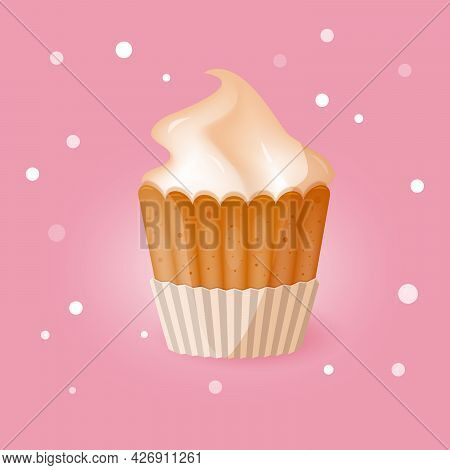 Creamy Brulee Cupcake Poster On Pink Background