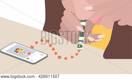 Concept Of People Dependence On Social Networks. The Girl Sniffs Likes And Hearts From Mobile Phone