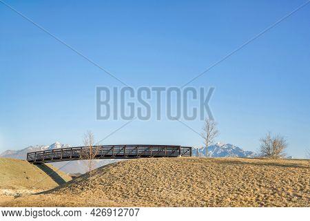Wooden Footbridge Over Oquirrh Lake At Daybreak In Utah