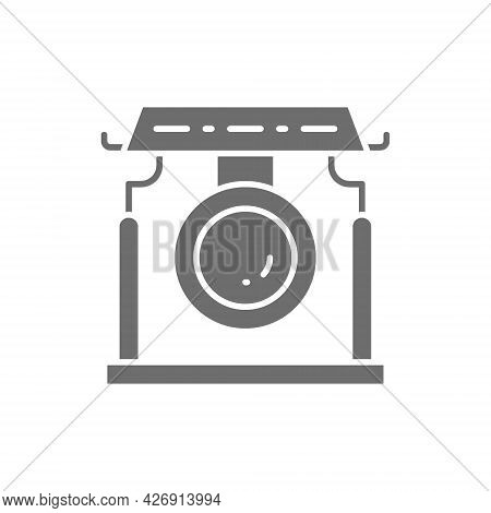 Chinese Gong, Asian Musical Instrument Grey Icon.