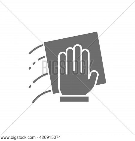 Hand With A Rag, Cleaning Grey Icon.
