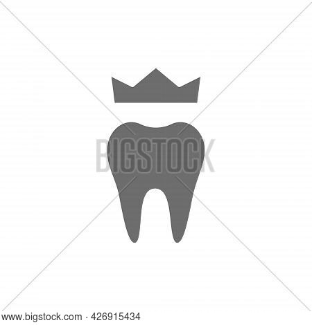 Dental Crown, Denture Grey Icon. Isolated On White Background