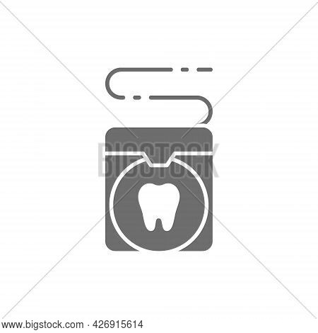 Vector Dental Floss, Tooth Care Grey Icon.