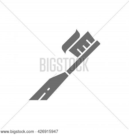 Vector Toothbrush With Paste, Toothpaste Grey Icon.