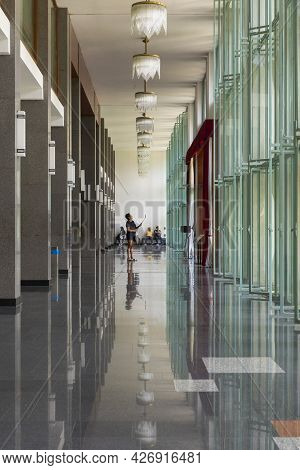Ho Chi Minh, Vietnam - Oct 17, 2019 : View Of Hall Way Inside Independence Palace In Ho Chi Minh Cit