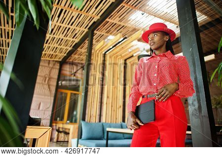Pretty Braids Business African American Lady Bright Bossy Person Friendly Wear Office Red Shirt, Hat