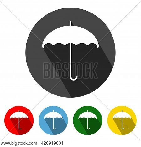 Umbrella Flat Style Icon With Long Shadow. Umbrella Icon Vector Illustration Design Element With Fou