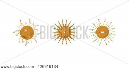 Set Of Abstract Aesthetic Suns. Scandinavian Design For Wallpaper And Home Decor. Contemporary Geome