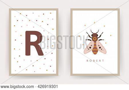 Boho Honeybee. Posters With Kid Name. Scandinavian Design For Children Room Wall Decor. Cute Pastel