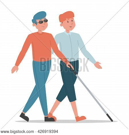 Blind Man Walking With A Friend Isolated