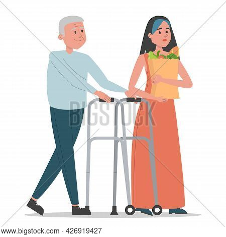 Young Woman Helps Old Man Vector Isolated