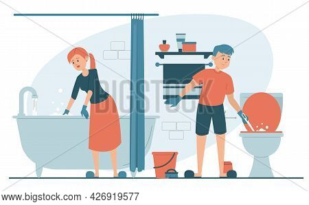 Couple Cleaning Bathroom Vector Isolated. Domestic Chores