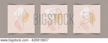 Makeup Or Hairstyle Concept. Abstract Woman Portrait On Beige Background With Different Shapes. Vect
