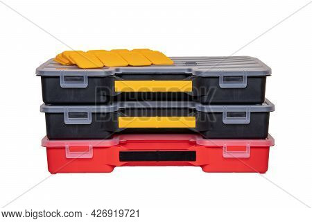 Equipment Of Craftsman. Three Professional Plastic Storage Boxes For Screws, Bolts, Dowels And Some