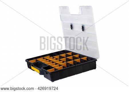 Equipment Of Craftsman. A Empty Open Professional Black Plastic Storage Box For Screws, Bolts, Dowel