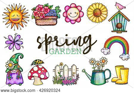 A Set Of Digitally Created Watercolor Style Spring Garden Illustrations.